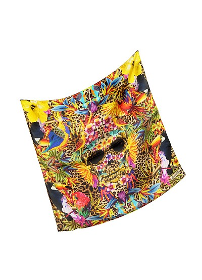 Exotic Parrots and Skull Silk Bandana - Marina D'Este