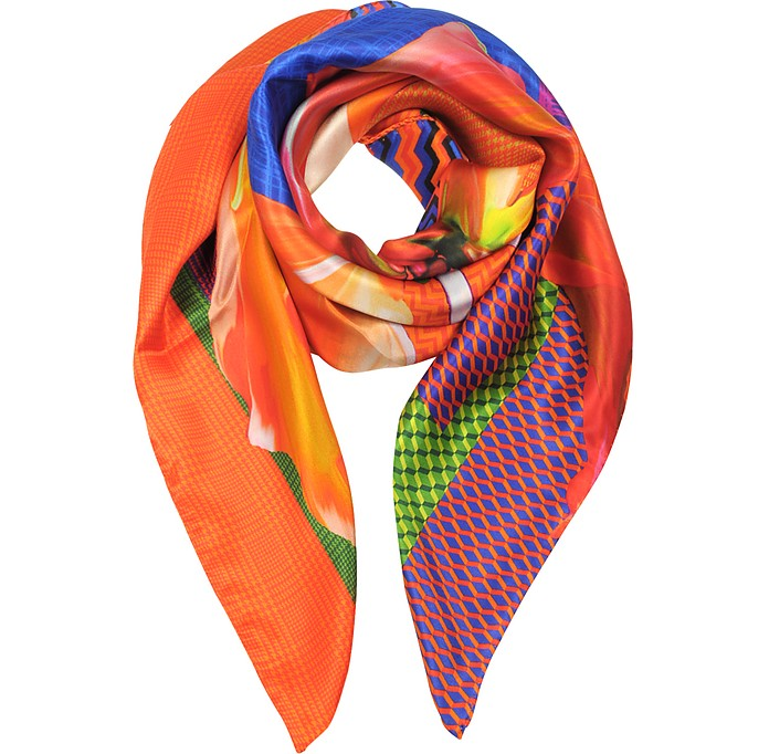 Zig-Zag and Flower Printed Twill Silk Square Scarf - Marina D'Este