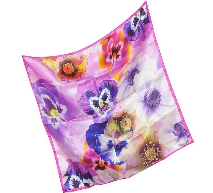 Flowers Print Silk Bandana - Marina D'Este