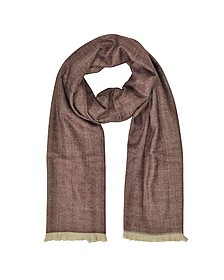 Zigzag Stripe Cashmere, Silk and Wool Long Scarf w/Fringes - Marina D'Este