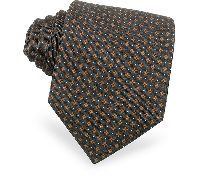 Mini Flowers and Dots Printed Silk Tie - Moreschi
