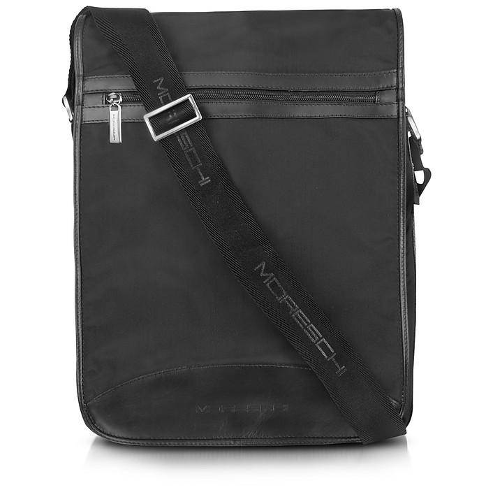 Black Techno Fabric Large Messenger Bag - Moreschi