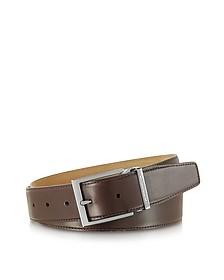 York Dark Brown Calf Leather Belt
