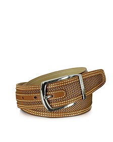 St.Barth Tan Perforated Nubuck and Leather Belt  - Moreschi