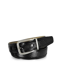 Lione Black Peccary and Leather Belt  - Moreschi