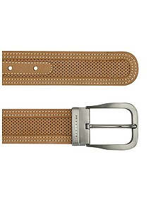 Men's Tan Perforated Leather Belt  - Moreschi