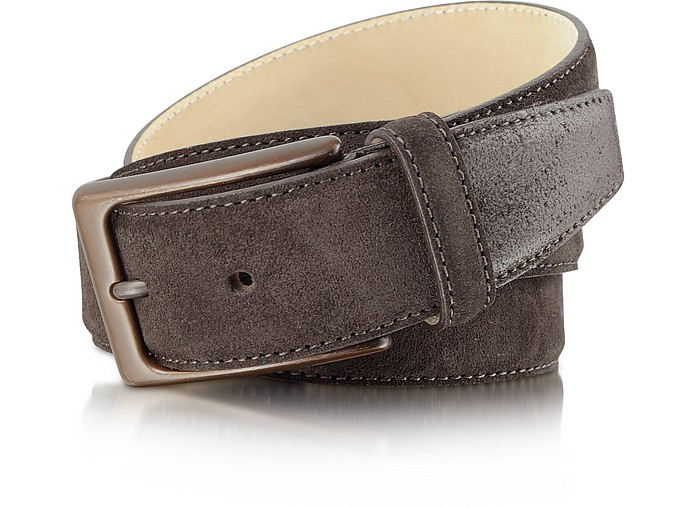 Men's Dark Brown Leather Belt - Moreschi