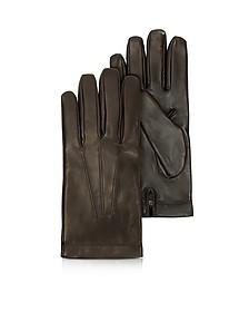 Siberia Dark Brown Leather Men's Gloves w/Cashmere Lining - Moreschi