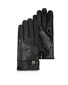 Alaska Herren-Handschuhe aus Leder in schwarz mit Kaschmirfutter - Moreschi