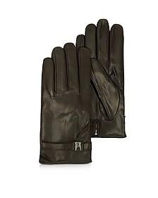 Alaska Dark Brown Leather Men's Gloves w/Cashmere Lining - Moreschi
