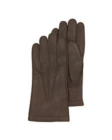 Dark Brown Deerskin Leather Men's Gloves w/Cashmere Lining