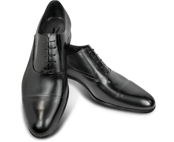 Dublin Black Leather Cap-Toe Oxford Shoes - Moreschi