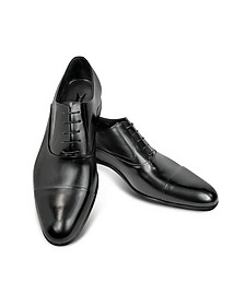 Dublin Black Leather Cap-Toe Derby Shoes - Moreschi