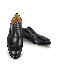 Black Leather Wingtip Oxford Shoes - Moreschi
