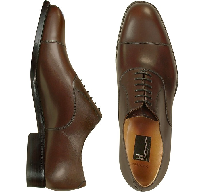 Londra - Dark Brown Calfskin Cap Toe Oxford Shoes - Moreschi