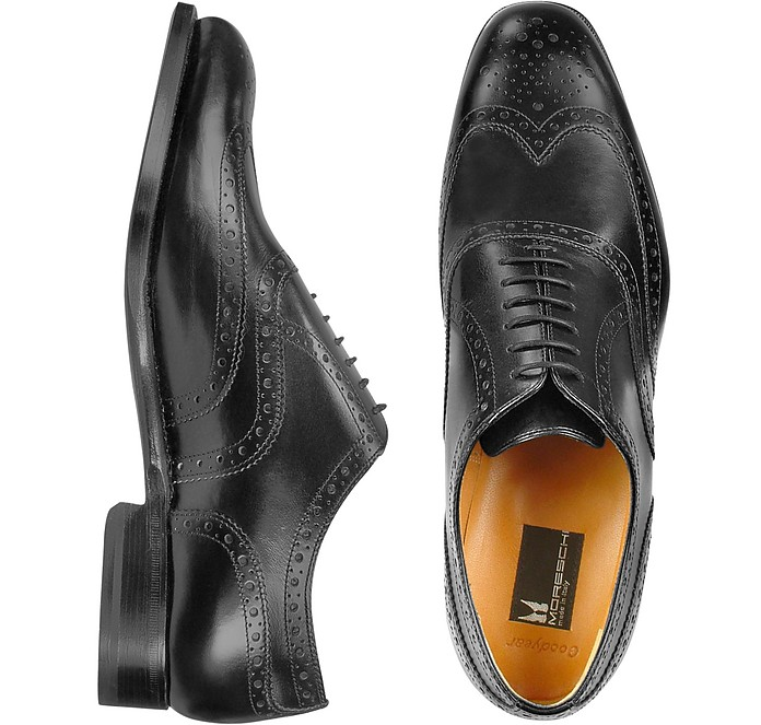 Oxford - Black Calfskin Wingtip Shoes - Moreschi
