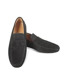 Portofino - Black Perforated Suede Driver Shoes - Moreschi