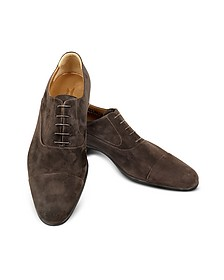 Dublin Dark Brown Suede Cap-Toe Derby Shoes - Moreschi