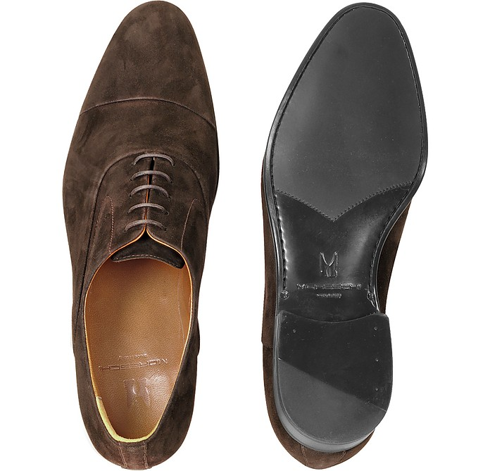 Moreschi Designer Shoes, Dublin Dark Suede Cap-Toe Oxford Shoes