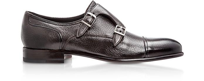Eze Dark Brown Deerskin Monk Shoes - Moreschi