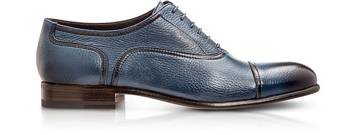 Nice Blue Deerskin Oxford Shoes - Moreschi