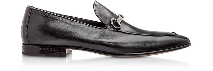 Adelaide Black Kangaroo Leather Loafer Shoes - Moreschi