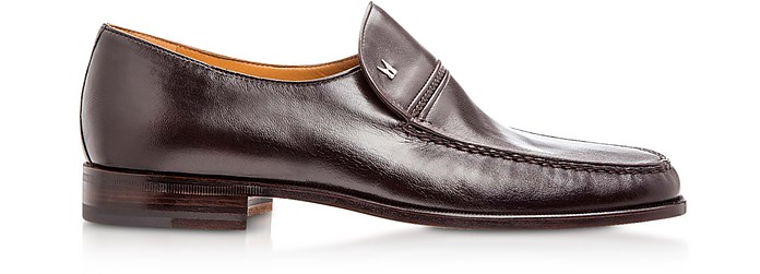 Bonn Dark Brown Lambskin Loafer Shoes - Moreschi