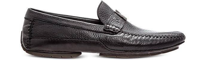 Black Deerskin Driver Shoes - Moreschi
