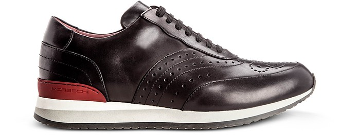 Sparta Black Smooth Calfskin Brogue Sneakers - Moreschi