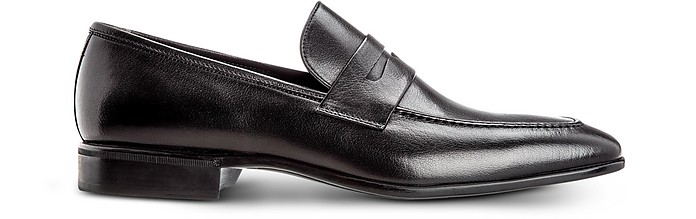 Liegi Black Soft Buffalo Leather Loafers with Blake Sole - Moreschi