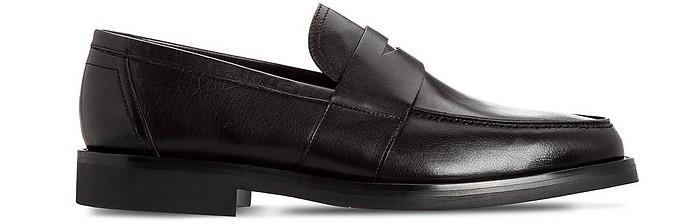 Black Leather Loafer Shoes - Moreschi