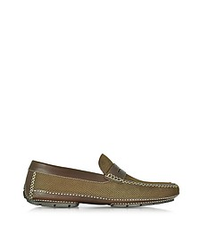 Bahamas Brown Perforated Nubuck Driver Shoes w/Rubber Sole - Moreschi