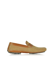 Bahamas Tan Perforated Nubuck Driver Shoes w/Rubber Sole - Moreschi