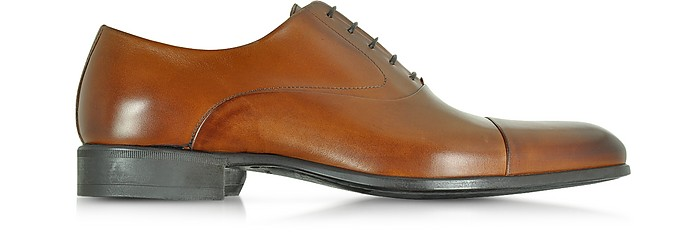 Dublin Tan Calf Leather Oxford Shoes w/Rubber Sole - Moreschi