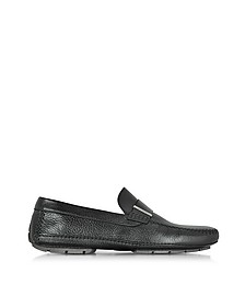 Miami Black Deerskin Driver Shoe w/Rubber Sole - Moreschi