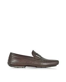 Miami Dark Brown Deerskin Driver Shoe w/Rubber Sole - Moreschi