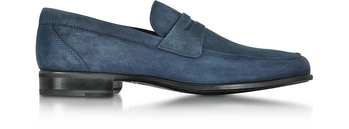 Graz Navy Blue Suede Loafer Shoe w/Rubber Sole - Moreschi