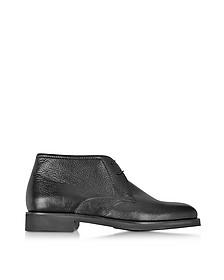 Seattle Black Deerskin Leather Ankle Boot w/Rubber Sole - Moreschi