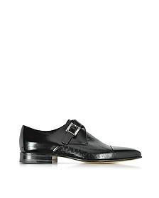 Nancy Black Peccary Leather Monk Strap Shoe - Moreschi