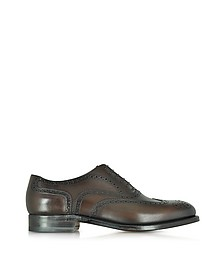 Windsor Dark Brown Leather Wingtip Oxford Shoe - Moreschi
