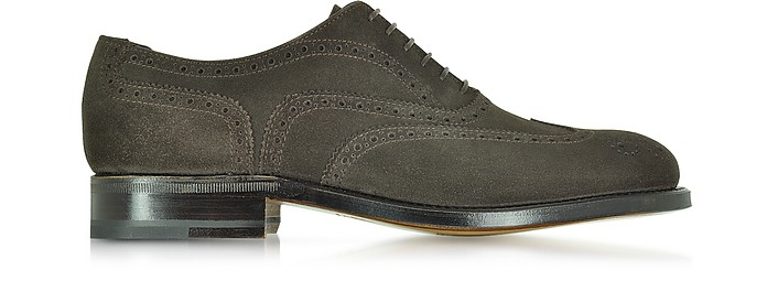Windsor Dark Brown Suede Goodyear Wingtip Oxford Shoe - Moreschi