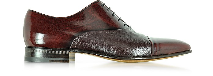 Digione Burgundy Peccary and Calf Leather Oxford Shoes - Moreschi