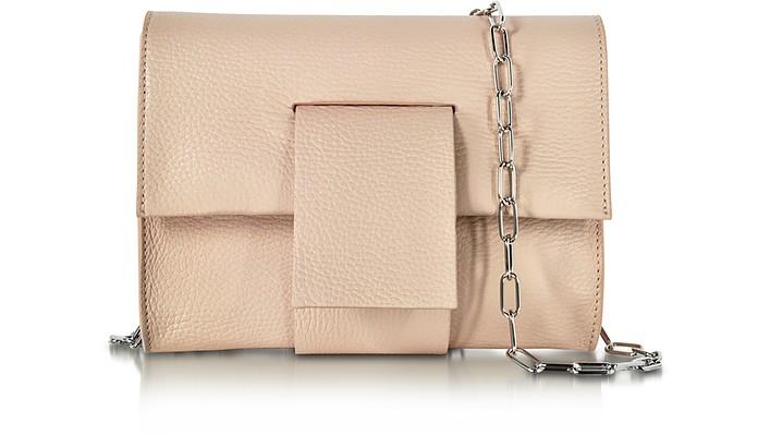 Powder Pink Grainy Leather Clutch w/Chain Strap - MM6 Maison Martin Margiela