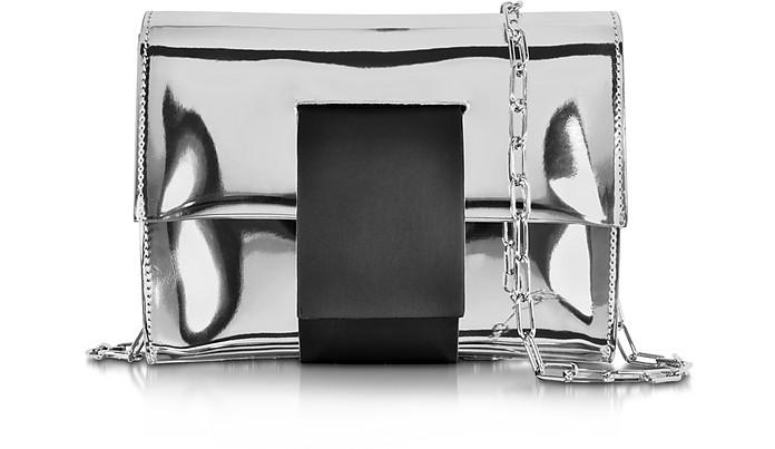 Silver Laminated Eco Leather Clutch w/Chain Strap - MM6 Maison Martin Margiela
