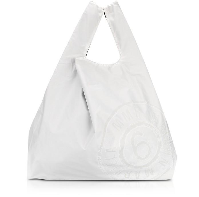 White & Black Double Face Nylon Market Bag w/Logo - MM6 Maison Martin Margiela