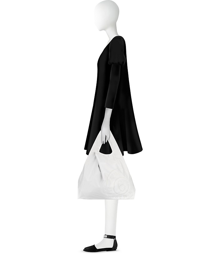 Shopper Double Face in Nylon Black&White con Logo MM6 Maison Martin Margiela cJapa33