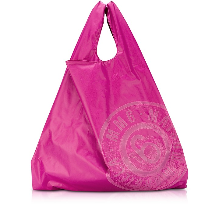 PINK & RED DOUBLE FACE NYLON MARKET BAG W/LOGO