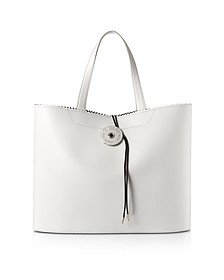 White Calf Leather and Paper Tote Bag - MM6 Maison Martin Margiela