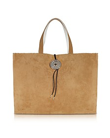 Camel Suede Leather and Paper Tote Bag - MM6 Maison Martin Margiela