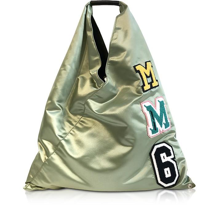 Japanese Bag in Nylon Verde Salvia con Logo MM6 - MM6 Maison Martin Margiela